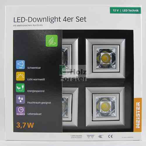 MEISTER LED Downlight Quadro 12Volt 3,7Watt, 4er Set, 5 Farben