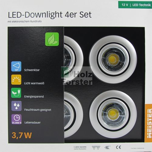 MEISTER LED Downlight Rund 12Volt 3,7Watt, 4er Set, 5 Farben
