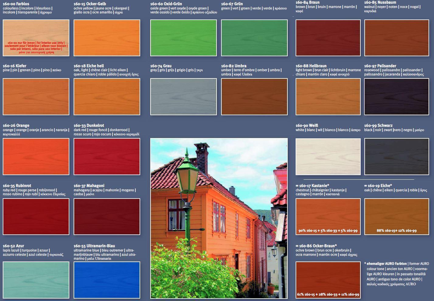 auro holzlasur aqua nr.160 verschiedene farben 0,75 u. 2,50 liter