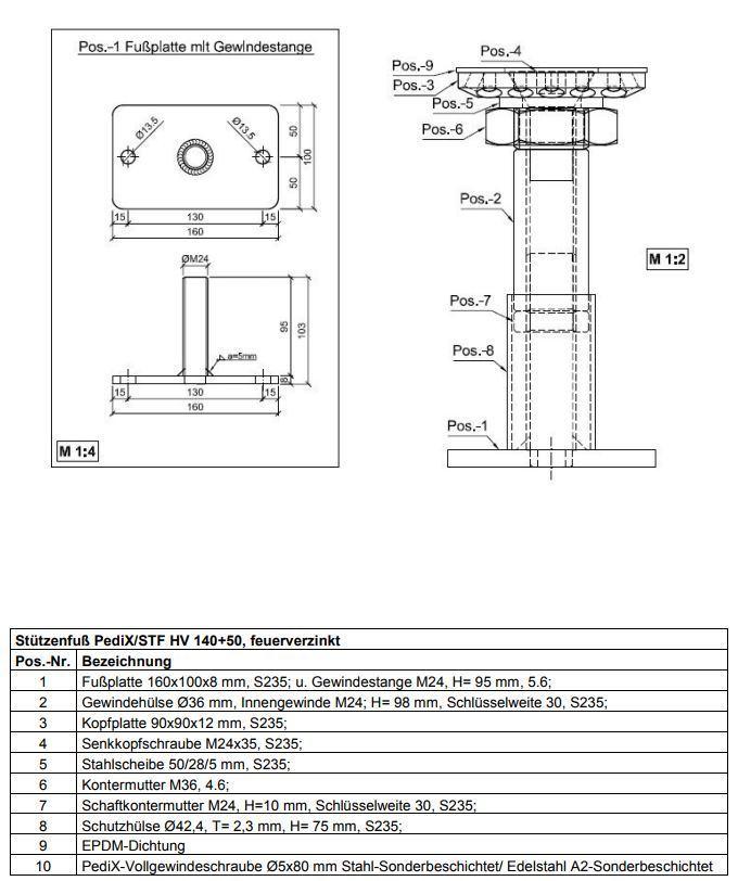 höhenverstellbar 140 mm+50 mm Pfostenträger Eurotec Pedix Stützenfuß